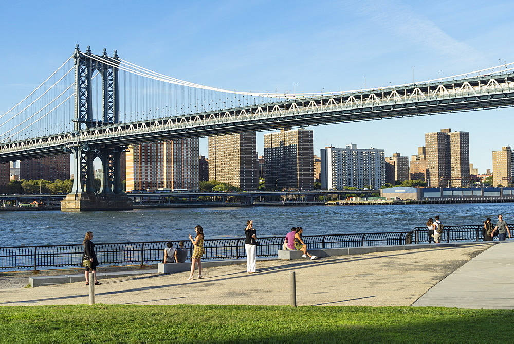 Manhattan Bridge spanning the East River viewed from Brooklyn Bridge Park, New York City, United States of America, North America