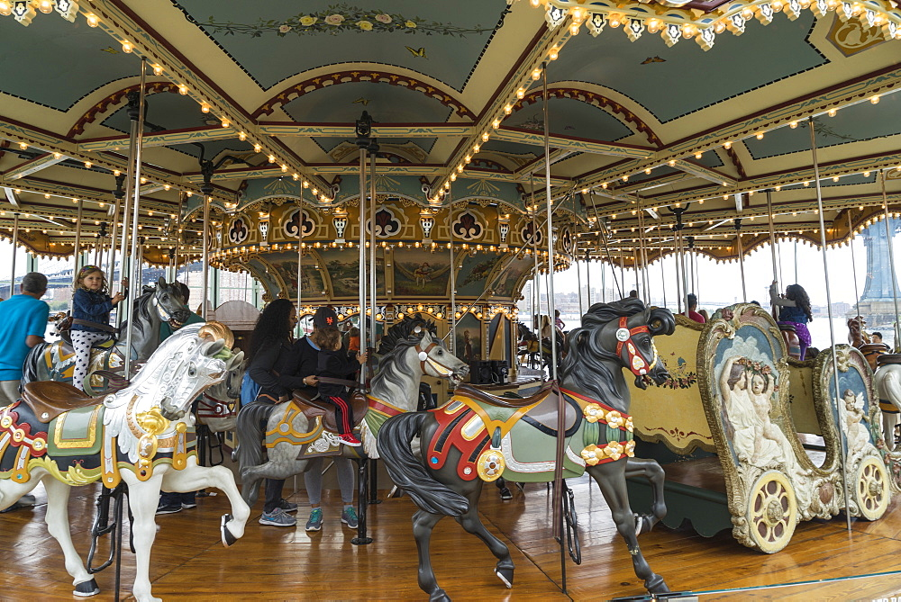 Jane's Carousel, a restored 1920s fairground carousel now located in Brooklyn Bridge Park, Brooklyn, New York, United States of America, North America