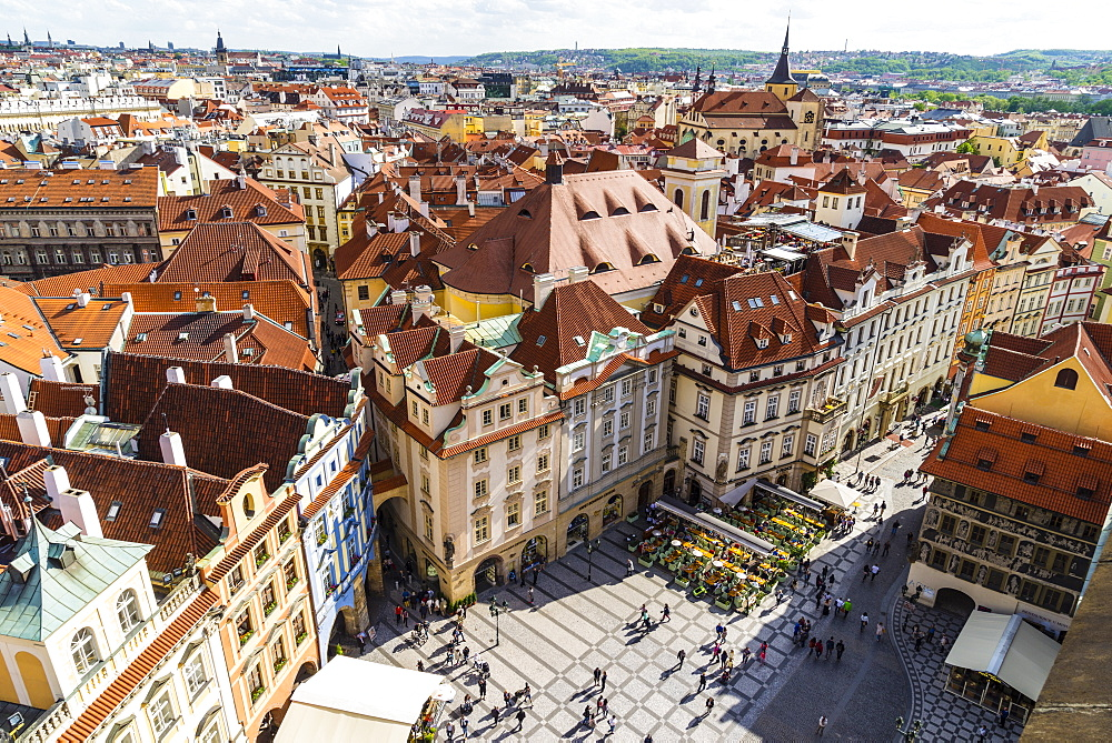 High angle view of buildings in Old Town Square, UNESCO World Heritage Site, Prague, Czech Republic, Europe