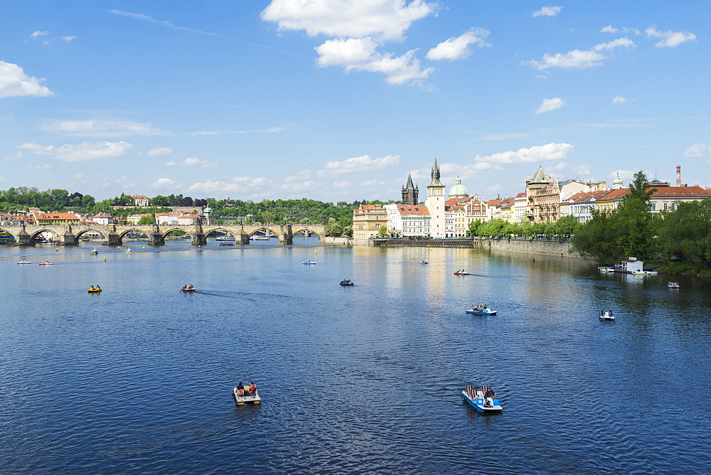 Vltava River and Charles Bridge on a sunny spring day, Prague, Czech Republic, Europe