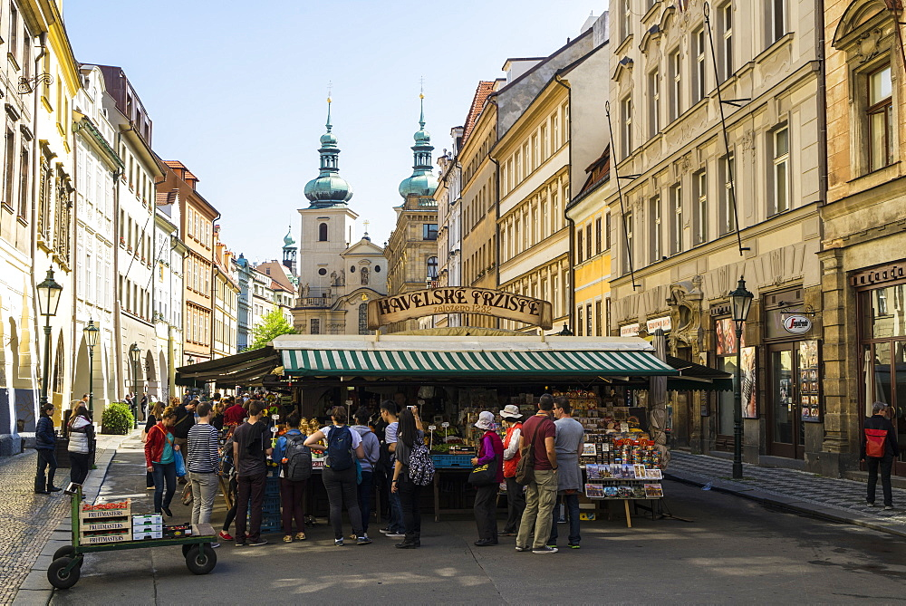 Havelsky Trziste is the Old Town's largest outdoor market in front of St. Havel Church, Prague, Czech Republic, Europe