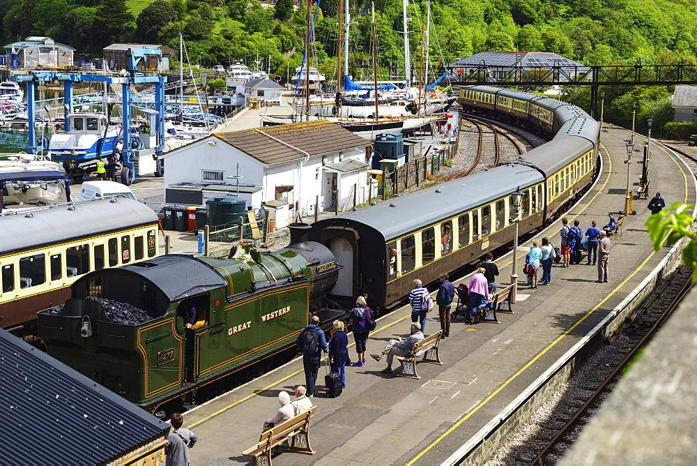 Steam train, Kingswear, Devon, England, United Kingdom, Europe - 808-1527