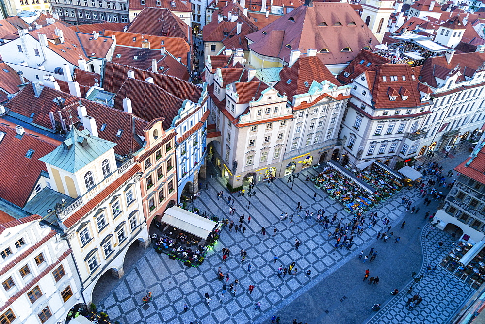 Looking down on Old Town Square, UNESCO World Heritage Site, Prague, Czech Republic, Europe - 808-1531