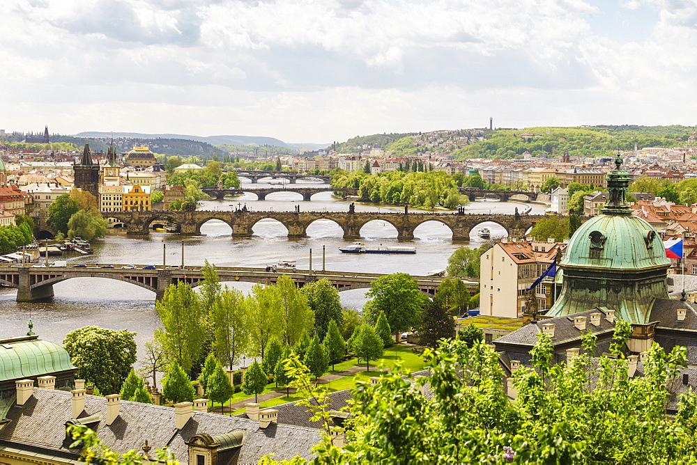 Prague cityscape looking down the Vltava River, Prague, Czech Republic, Europe - 808-1542