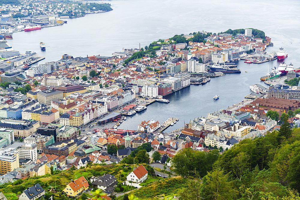 View over the city from Mount Floyen, Bergen, Norway, Scandinavia, Europe - 808-1546
