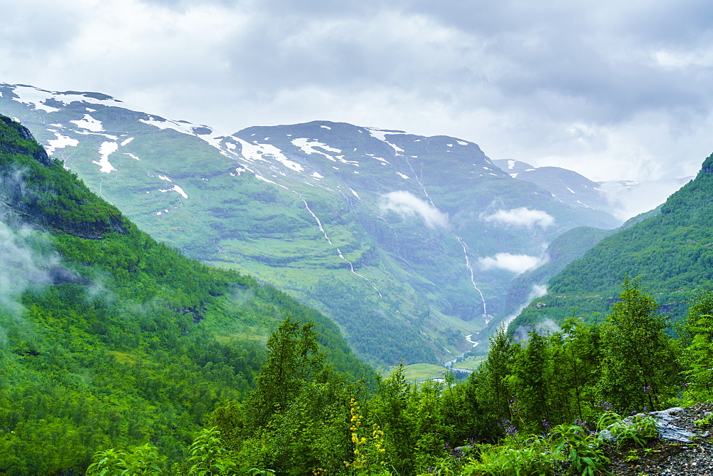 A view of waterfalls and forest from the Flam Railway, Flamsbana, Flam, Norway, Scandinavia, Europe - 808-1550