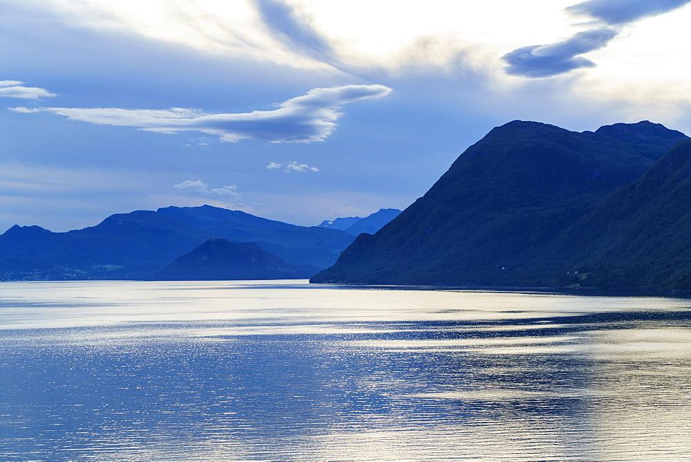 Dawn on Storfjord (Storfjorden), Norway, Scandinavia, Europe - 808-1554