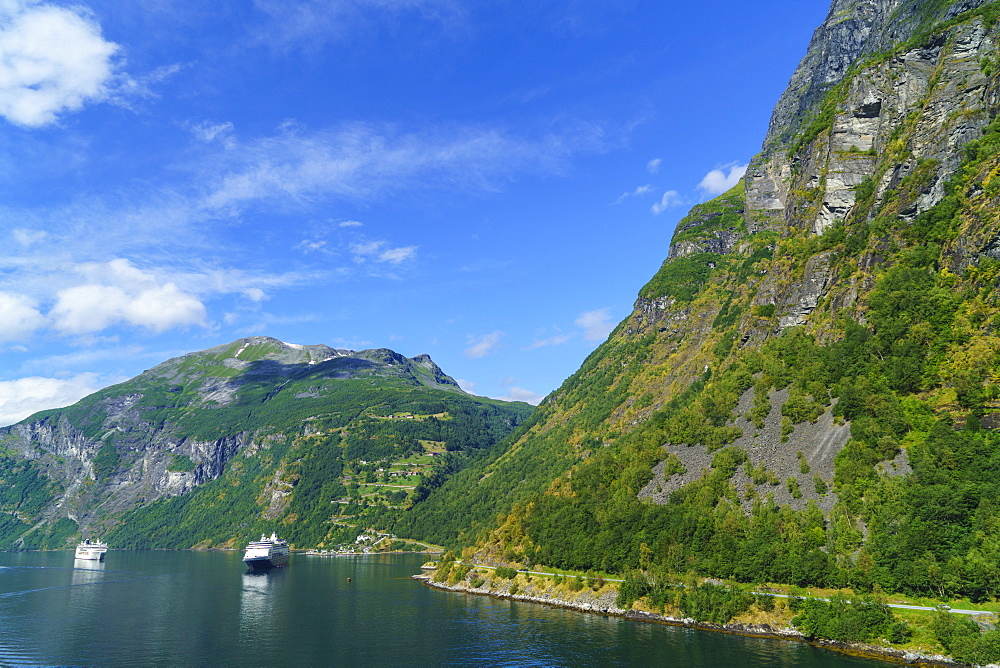 Cruiseships moored at the head of Geirangerfjord by the village of Geiranger, UNESCO World Heritage Site, Norway, Scandinavia, Europe - 808-1559