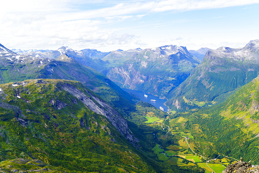 View of Geiranger and Geirangerfjord, UNESCO World Heritage Site, from the summit of Mount Dalsnibba, 1497m, Norway, Scandinavia, Europe - 808-1561