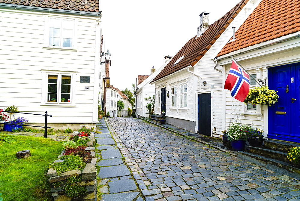 Old Stavanger (Gamle Stavanger) comprising about 250 buildings dating from early 18th century, mostly small white cottages, Stavanger, Rotaland, Norway, Scandinavia, Europe - 808-1579