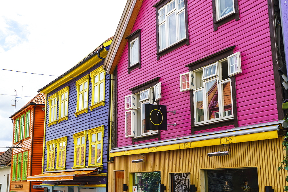 Ovre Holmegate, a colourful street of shops and cafes in the centre of Stavanger, Norway, Scandinavia, Europe - 808-1589
