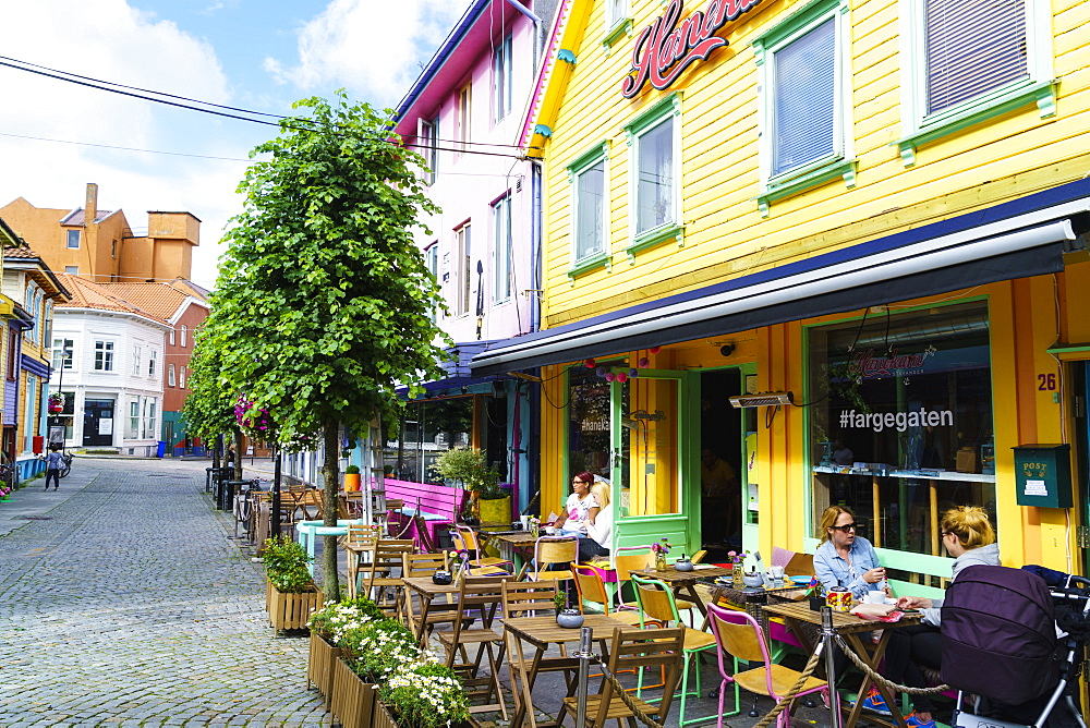Ovre Holmegate, a colourful street of shops and cafes in the centre of Stavanger, Norway, Scandinavia, Europe - 808-1590