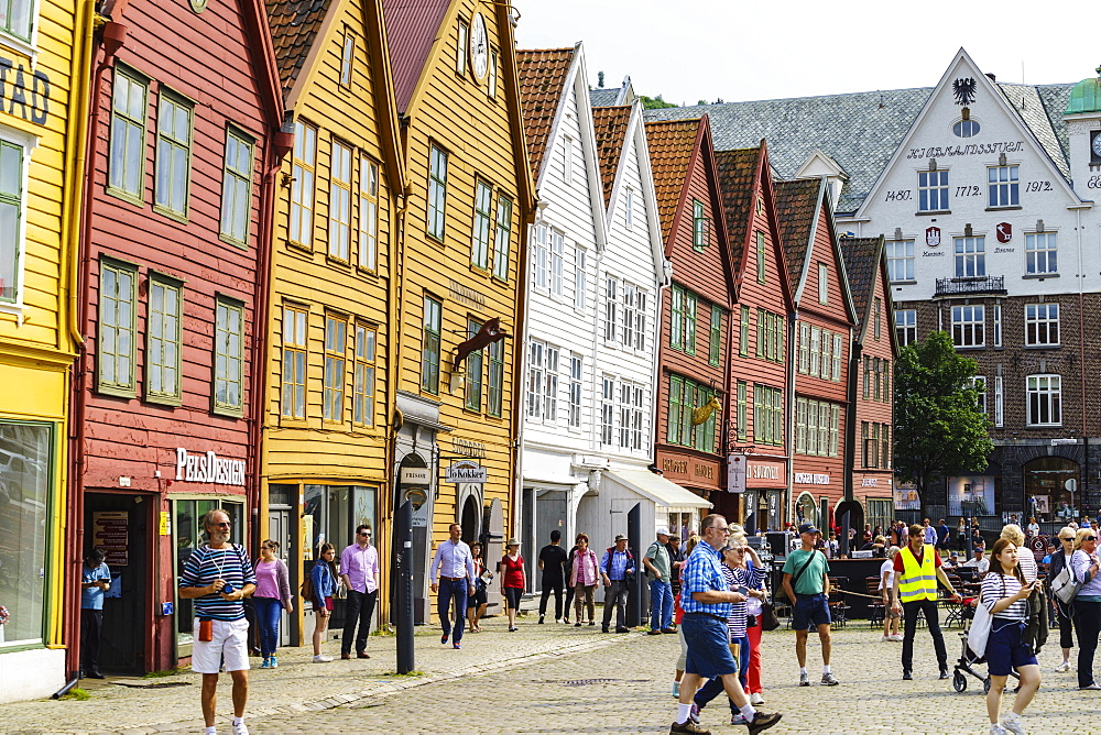 The wooden Hanseatic merchants buildings of the Bryggen, an ancient fjordside wharf, now a major tourist attraction, UNESCO World Heritage Site, Bergen, Norway, Scandinavia, Europe - 808-1600