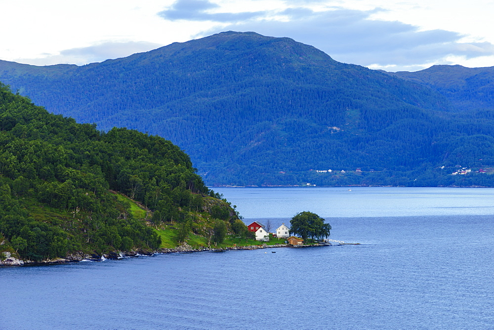 Small houses on Storfjord (Storfjorden), Norway, Scandinavia, Europe - 808-1603