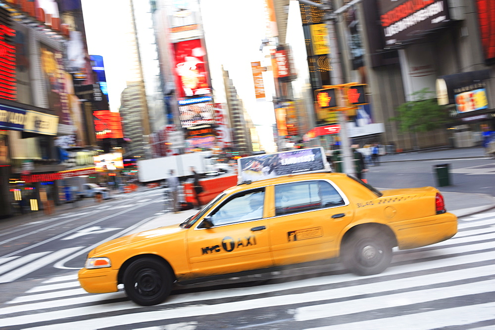 Taxi, Times Square, Manhattan, New York City, New York, United States of America, North America