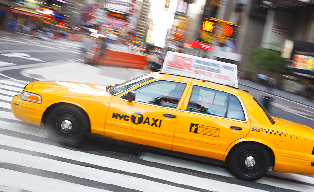 Taxi in Times Square, Manhattan, New York City, New York, United States of America, North America