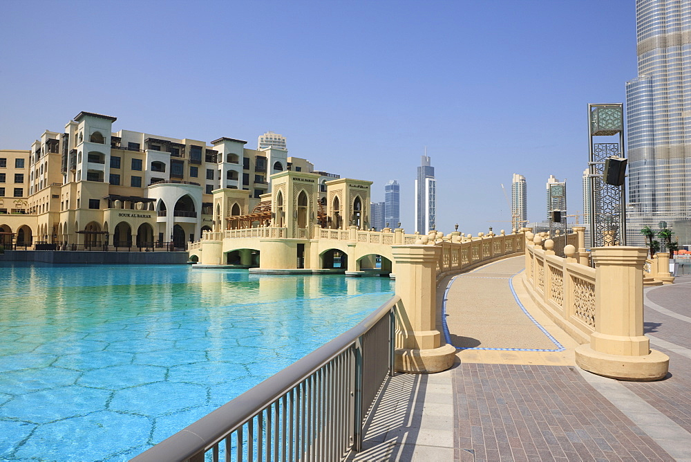 The Souk Al Bahar and Burj Khalifa, formerly the Burj Dubai, Downtown Burj Dubai, Dubai, United Arab Emirates, Middle East