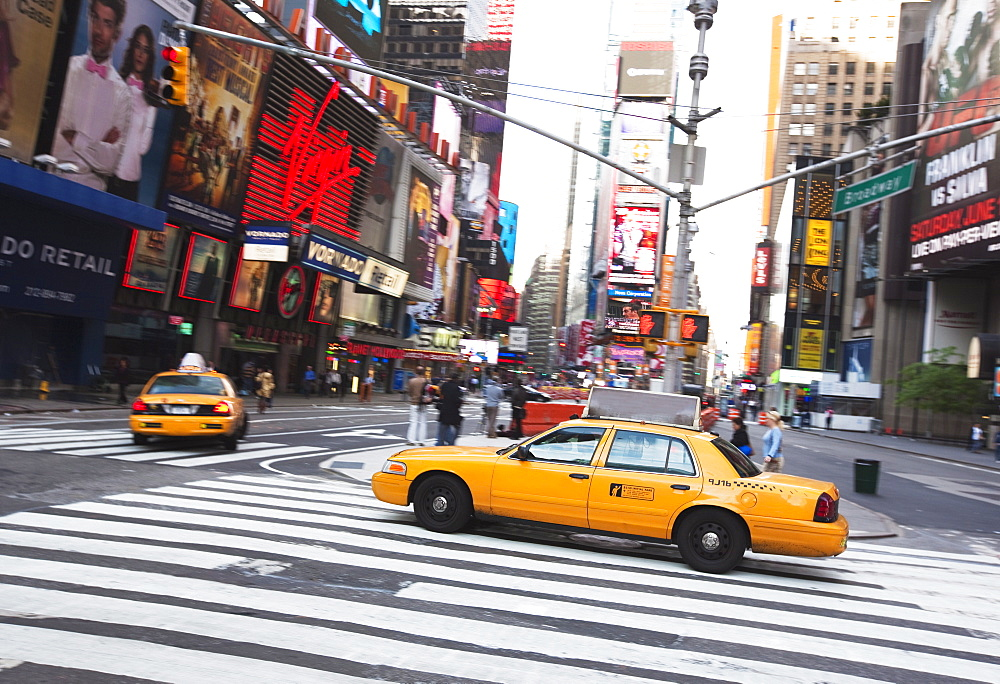 Taxi cabs in Times Square, Midtown, Manhattan, New York City, New York, United States of America, North America