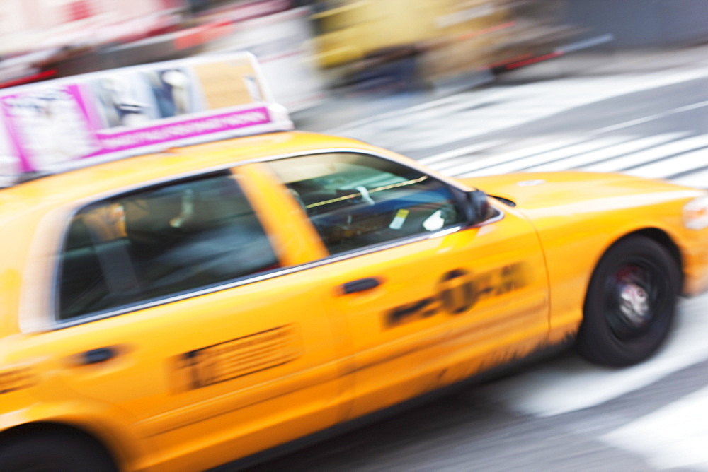 Taxi cab in Times Square, Midtown, Manhattan, New York City, New York, United States of America, North America