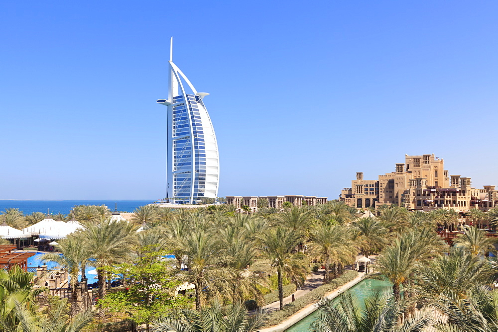 Burj Al Arab viewed from the Madinat Jumeirah Hotel, Jumeirah Beach, Dubai, United Arab Emirates, Middle East