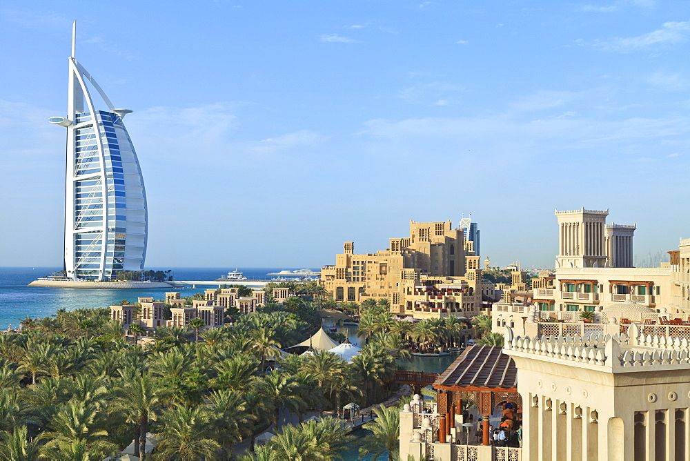 Burj Al Arab, seen from the Madinat Jumeirah Hotel, Jumeirah Beach, Dubai, United Arab Emirates, Middle East