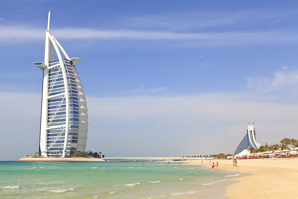 Burj Al Arab and Jumeirah Beach Hotels, Jumeirah Beach, Dubai, United Arab Emirates, Middle East