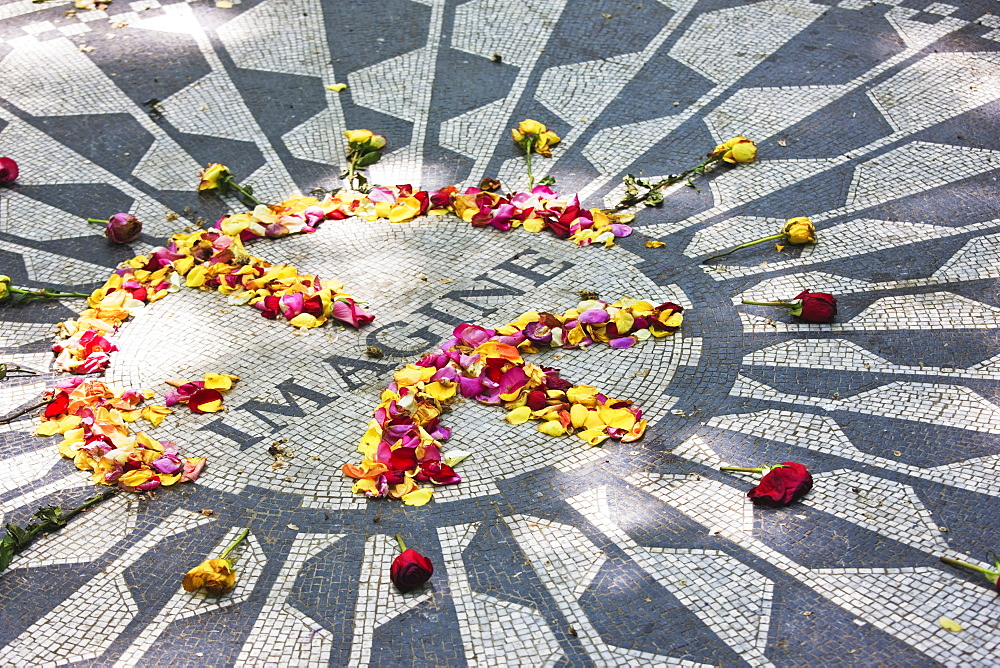 The Imagine Mosaic memorial to John Lennon who lived nearby at the Dakota Building, Strawberry Fields, Central Park, Manhattan, New York City, New York, United States of America, North America - 808-52