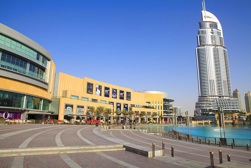 Downtown Dubai district, Dubai Mall, The Address Tower and Souk Al Bahar, Dubai, United Arab Emirates, Middle East