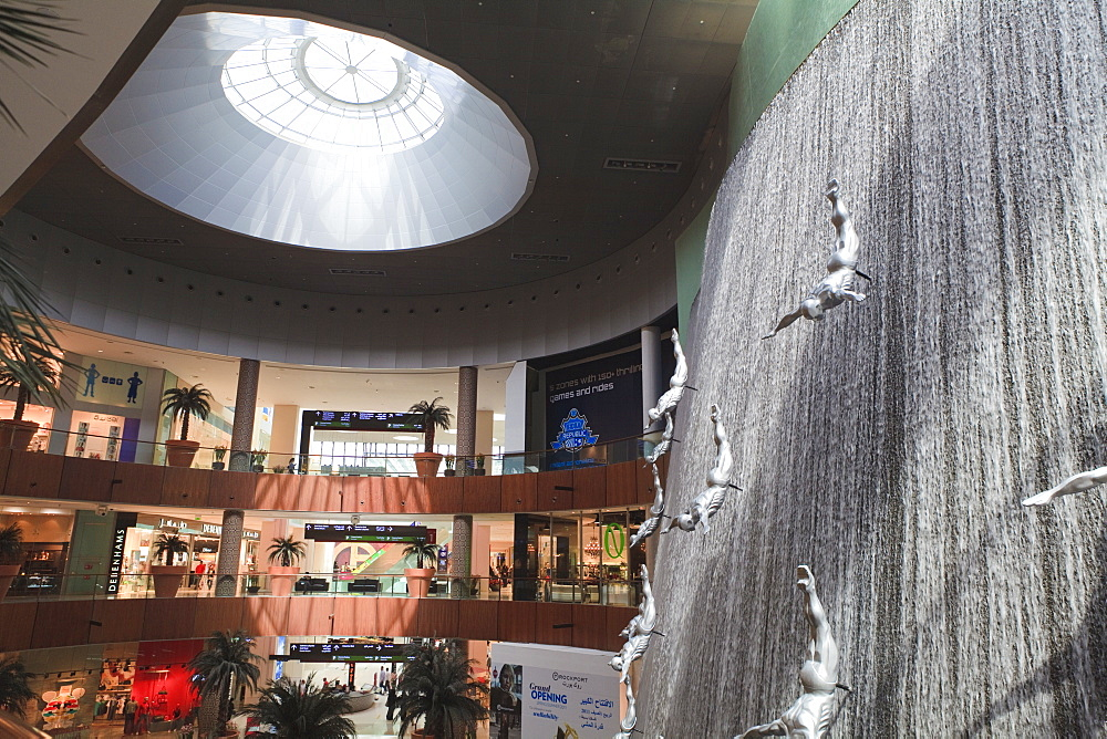 The Waterfall inside the Dubai Mall, the world's largest shopping mall, Downtown Dubai, Dubai, United Arab Emirates, Middle East