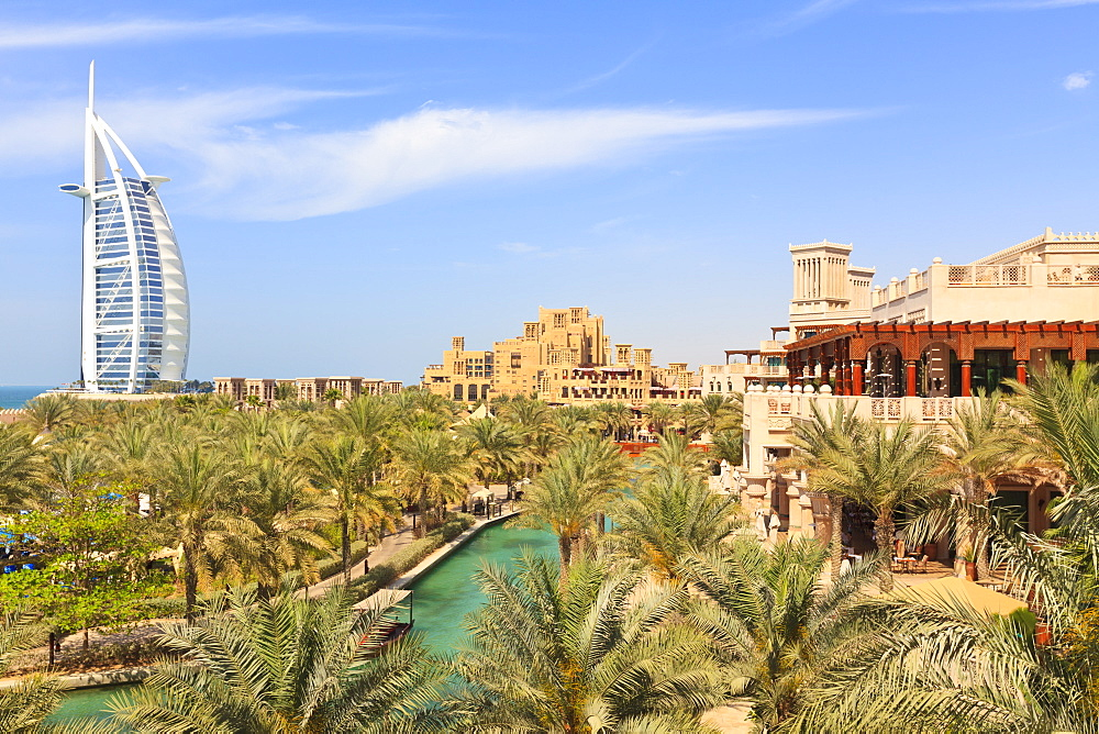 Burj Al Arab and Madinat Jumeirah Hotels, Dubai, United Arab Emirates, Middle East