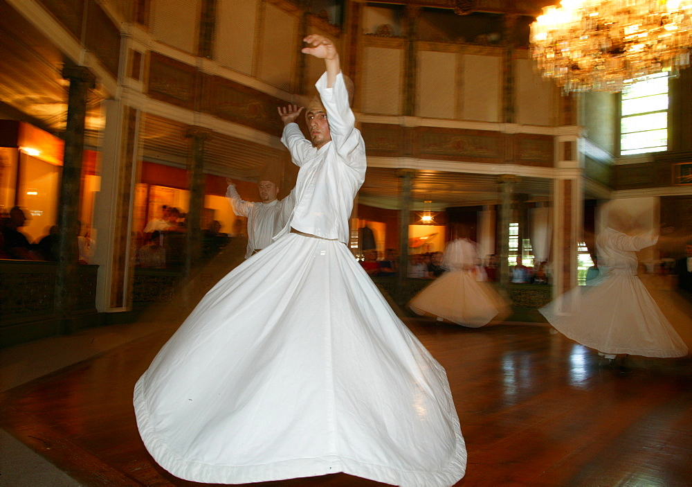 Whirling dervishes at Uskudar's convent, Istanbul, Turkey, Europe