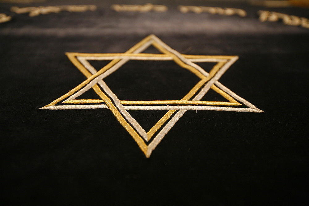 Star of David embroidery in Stadttempel Synagogue, Vienna, Austria, Europe