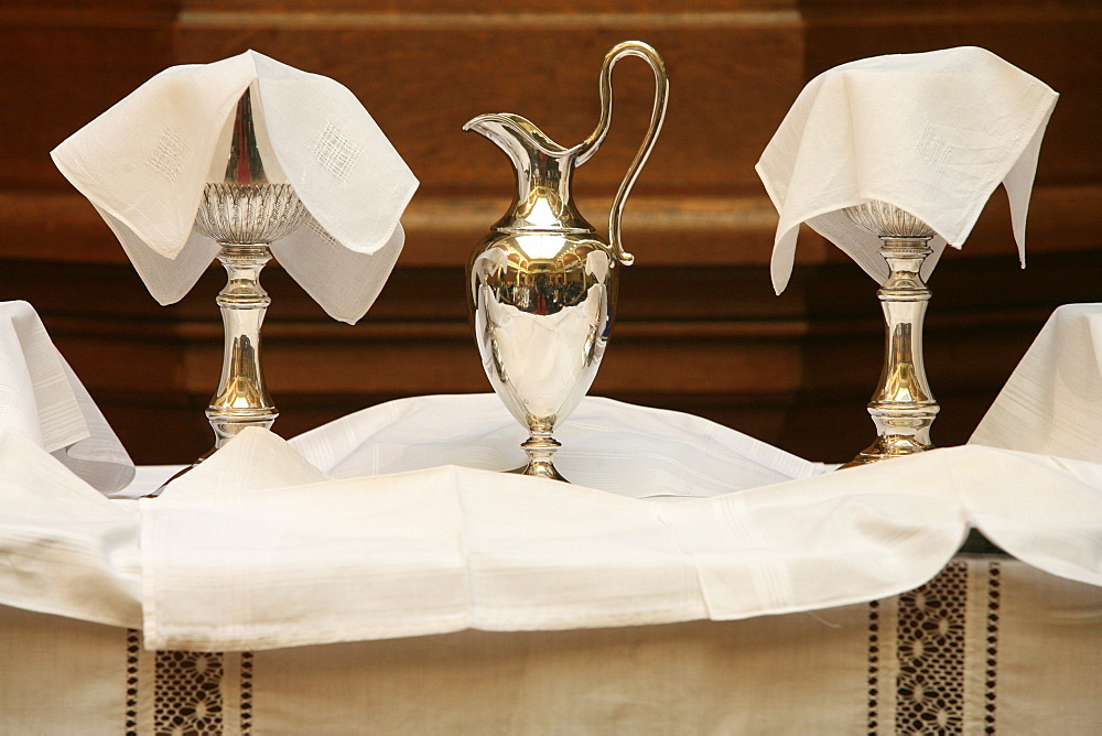 Chalices and ciborium used in the Protestant service of the United Reformed church, Paris, France, Europe