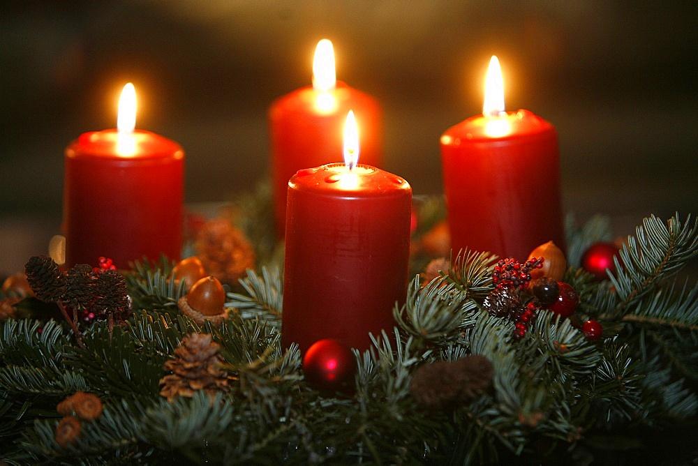 Advent candles, Saint Gervais, Haute Savoie, France, Europe