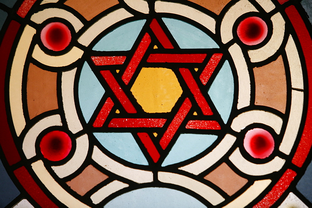 Stained glass window in Eldrige Street Synagogue, Manhattan, New York, United States of America, North America
