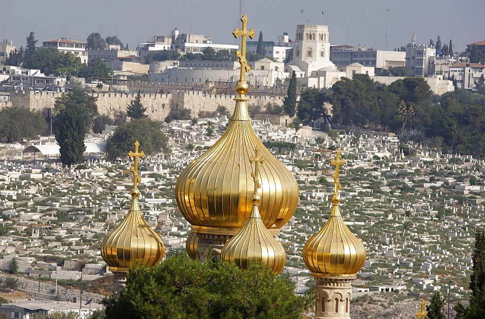Mary Magdalene Russian Orthodox church on Mount of Olives, Jerusalem, Israel, Middle East