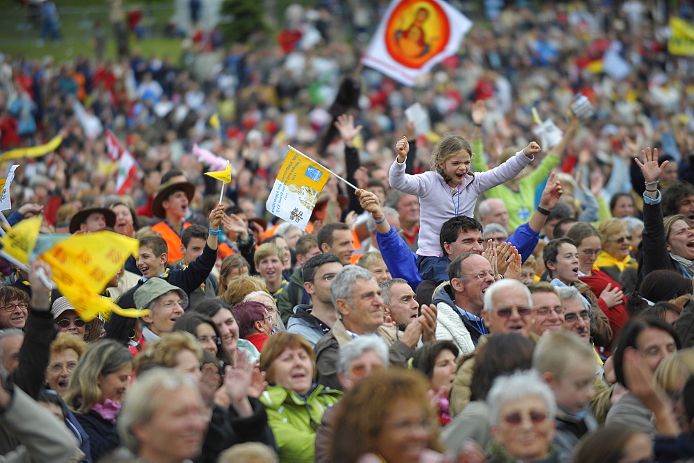 Worshippers during the Pope's visit to Lourdes, Hautes Pyrenees, France, Europe
