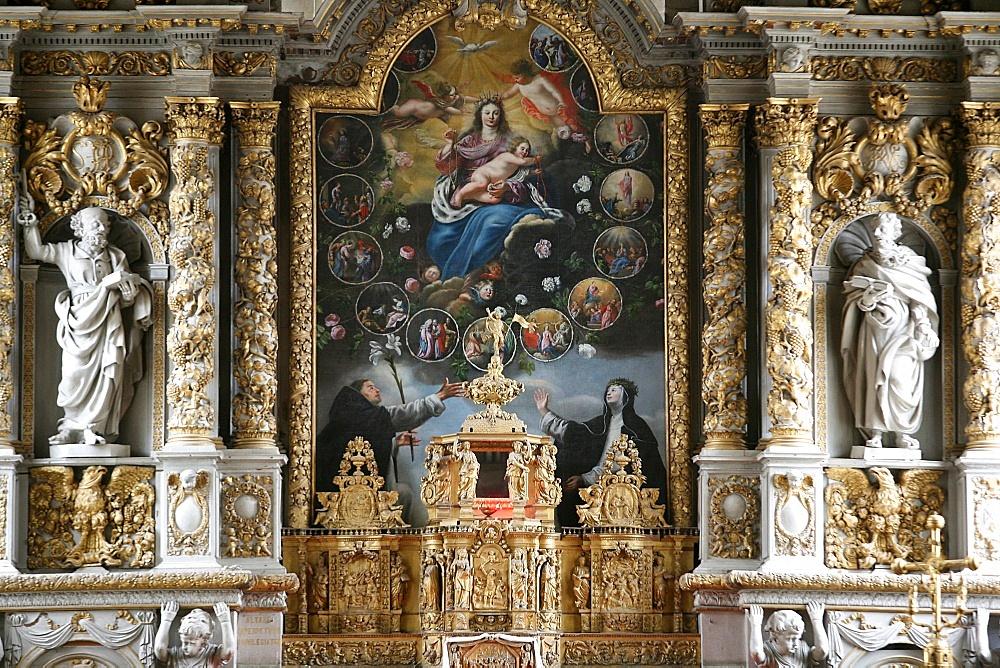 Retable in Notre-Dame de Croas-Batz church, Roscoff, Finistere, Brittany, France, Europe