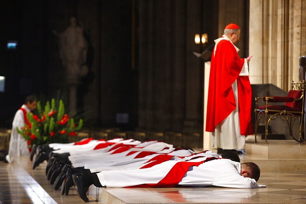 Priest ordinations in Notre Dame cathedral, Paris, France, Europe