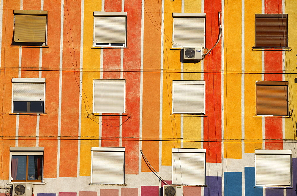 Painted buildings in Tirana, Albania, Europe