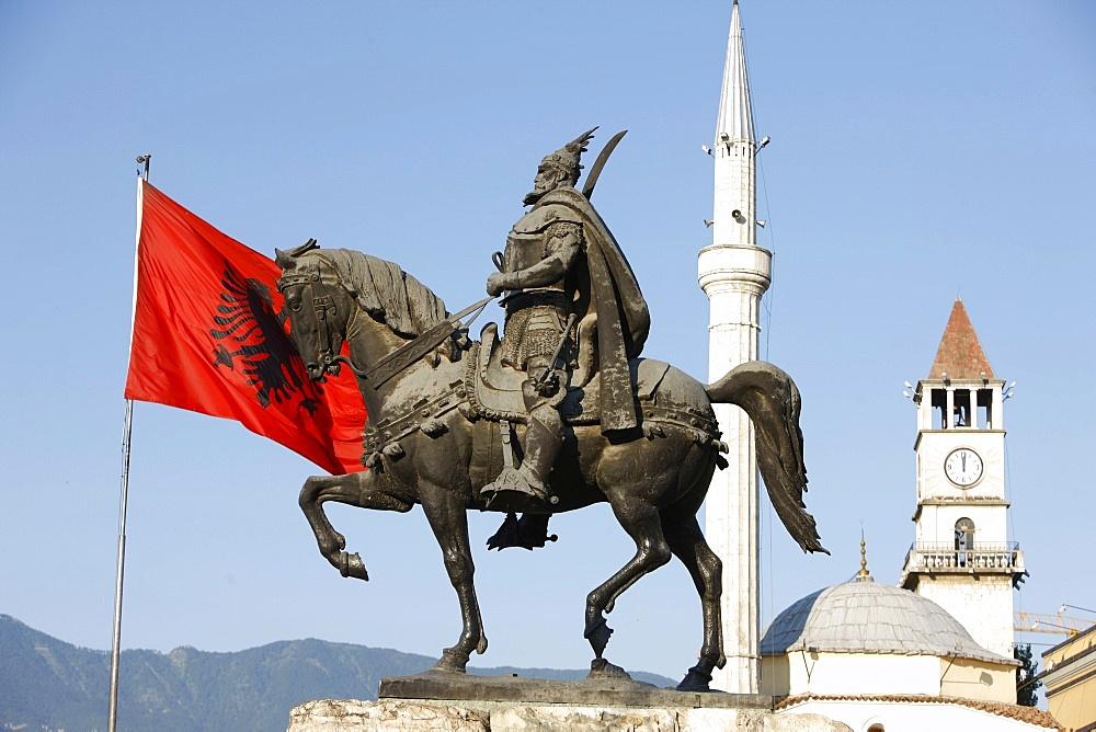 Skanderberg statue, Tirana, Albania, Europe