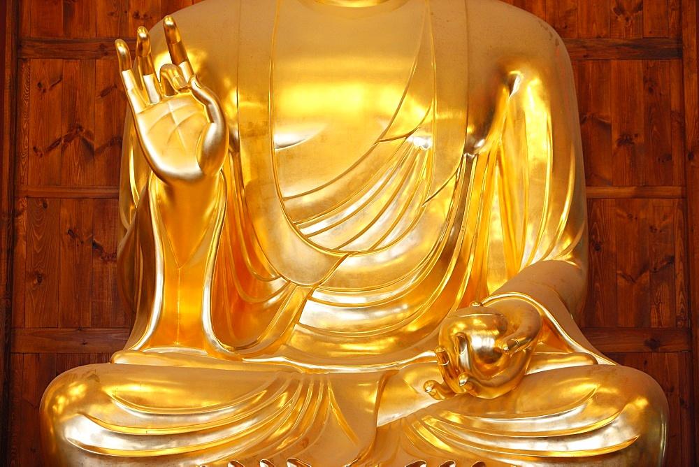 Detail of the medicine bowl, Bhaisajya Buddha (Medicine Buddha) (Buddha of Healing), Jogyesa Temple, Seoul, South Korea, Asia