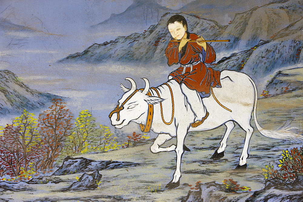 Painting of coming home on the Ox's back, from the ten Ox Herding Pictures of Zen Buddhism, representing the stages of enlightement, Seoul, South Korea, Asia - 809-2221