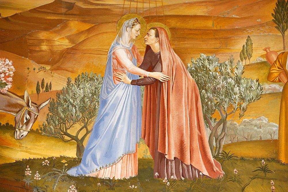Painting of the Visitation in the Visitation church in Ein Kerem, Israel, Middle East