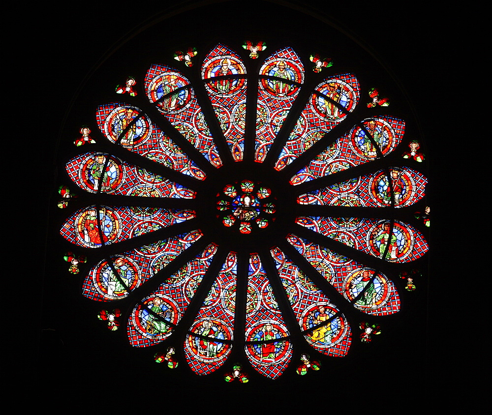 Rose window, St. Remy basilica, UNESCO World Heritage Site, Reims, Marne, France, Europe