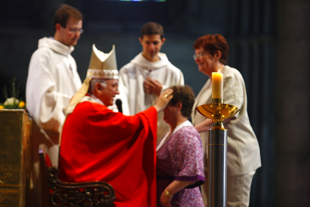 Adult confirmation in Reims cathedral, Reims, Marne, France, Europe