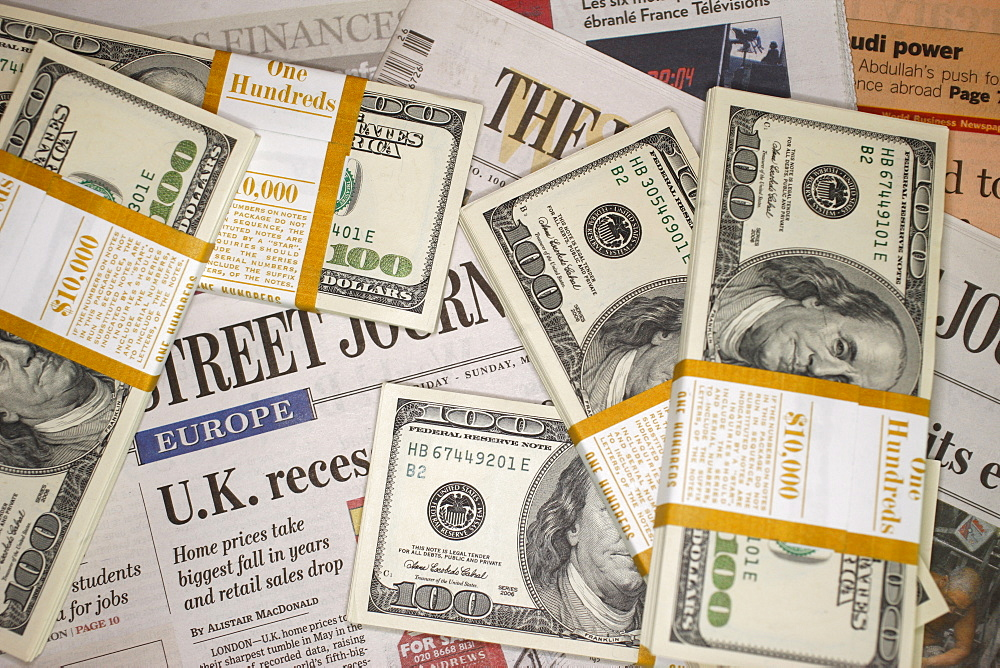 Economic newspapers and U.S. Dollars, France, Europe
