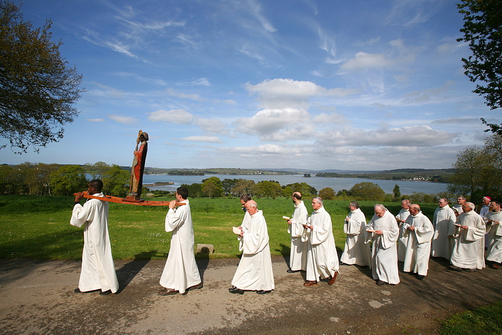 Saint-Guenole procession at Landevennec Abbey, Finistere, Brittany, France, Europe