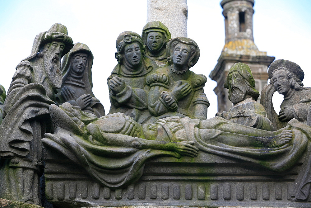 Entombment, a scene from the Life of Jesus on the Guimiliau calvary, Guimiliau, Finistere, Brittany, France, Europe