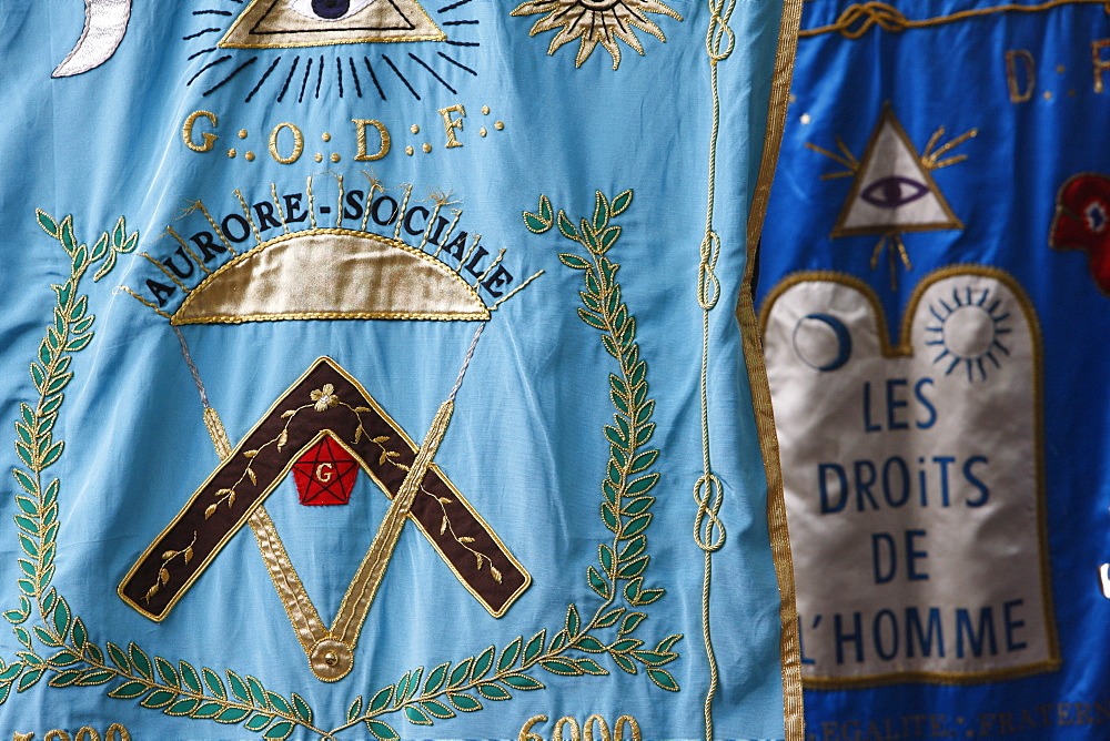 Freemason banners, Paris, France, Europe